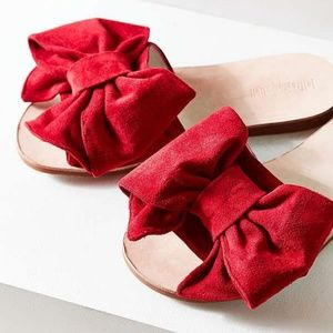 Red Suede Bow Slides Jeffrey Campbell x UO